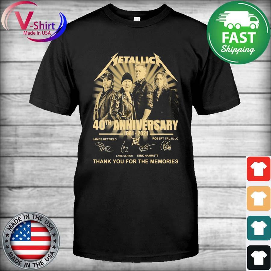 Official Metallica 40th anniversary 1981 2021 James Hetfield Robert Trujillo signatures thanks shirt