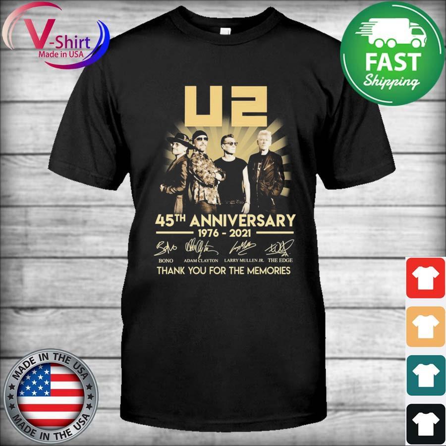 U2 45th anniversary 1976 2021 Bono Adam Clayton signatures thanks shirt