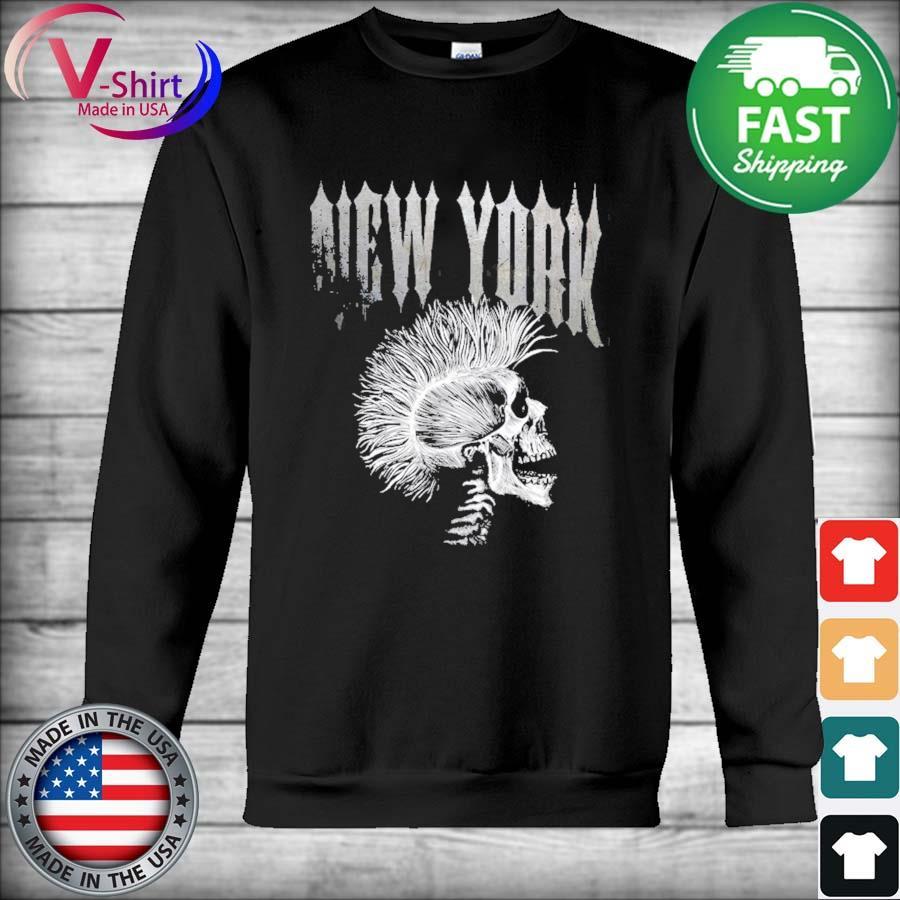 Distressed metal 80's rocker rock roll skeleton new york s Hoodie