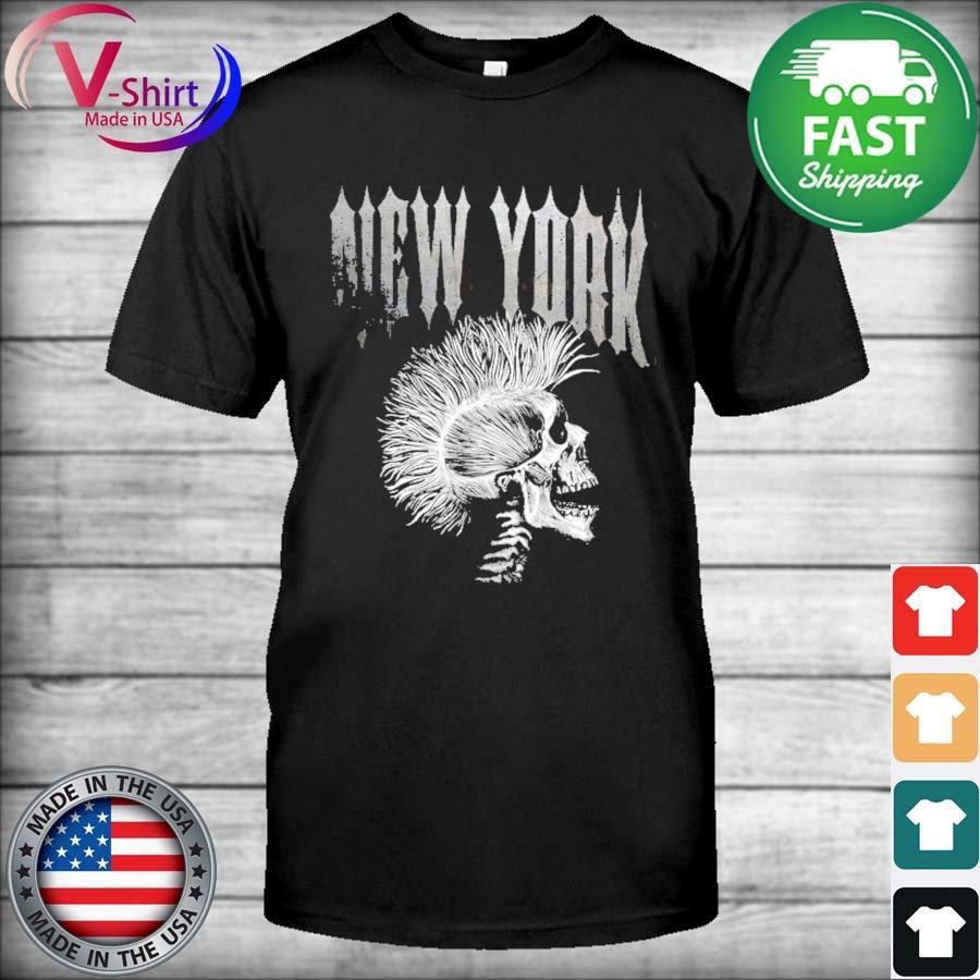 Distressed metal 80's rocker rock roll skeleton new york shirt