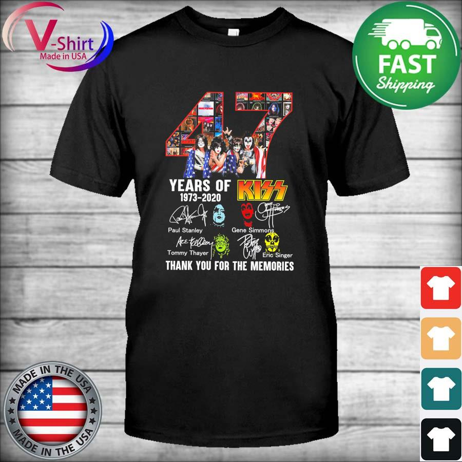 Official 47 Years Of Kiss 1973 – 2020 And Members Signatures thank shirt