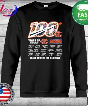 100 years of 1920 2020 Chicago Bears thank you for the memories signatures s Hoodie