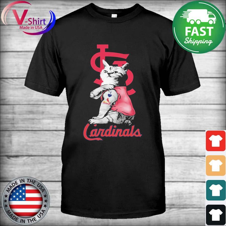 Cat tattoo I love St. Louis Cardinals shirt