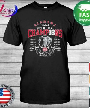 Alabama Crimson Tide 18-Time Football National Champions Elephant Engraving shirt