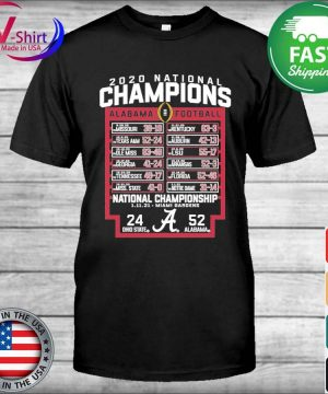 Alabama Crimson Tide Blue 84 College Football Playoff 2020 National Champions Schedule shirt
