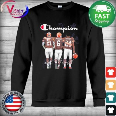 Cleveland Browns Baker Mayfield Nick Chubb and Denzel Ward Mvp Champions signatures s Hoodie