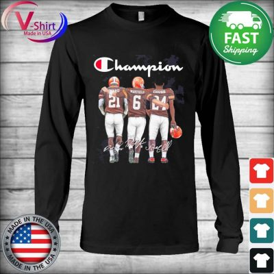 Cleveland Browns Baker Mayfield Nick Chubb and Denzel Ward Mvp Champions signatures s Long Sleeve