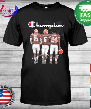 Cleveland Browns Baker Mayfield Nick Chubb and Denzel Ward Mvp Champions signatures shirt