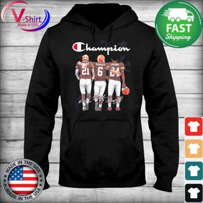 Cleveland Browns Baker Mayfield Nick Chubb and Denzel Ward Mvp Champions signatures s sweater