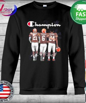 Cleveland Browns Nick Chubb Baker Mayfield and Denzel Ward Mvp Champion signatures s Hoodie