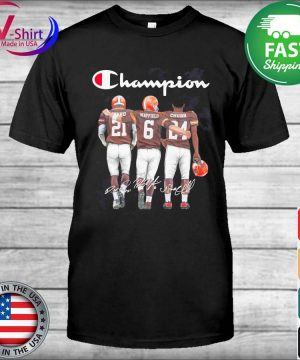 Cleveland Browns Nick Chubb Baker Mayfield and Denzel Ward Mvp Champion signatures shirt