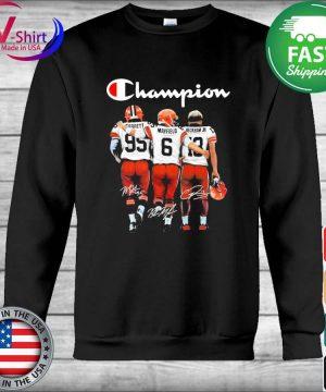 Cleveland Browns Odell Beckham Jr. Baker Mayfield and Myles Garrett Mvp Champions signatures s Hoodie