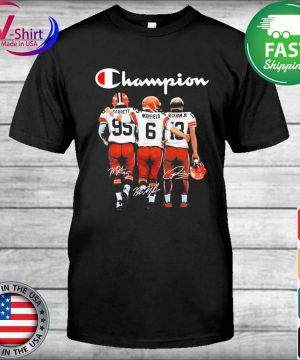 Cleveland Browns Odell Beckham Jr. Baker Mayfield and Myles Garrett Mvp Champions signatures shirt