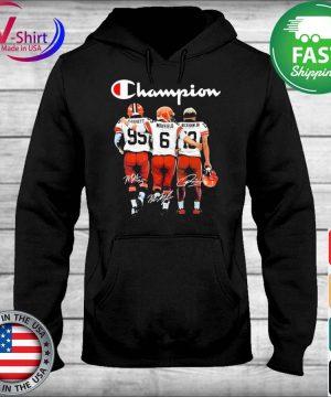 Cleveland Browns Odell Beckham Jr. Baker Mayfield and Myles Garrett Mvp Champions signatures s sweater