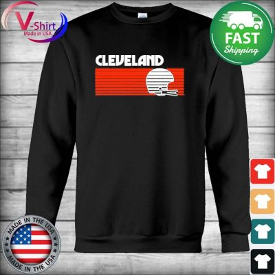 Cleveland Football Helmet Retro Game Day T-Shirt Hoodie