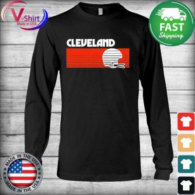Cleveland Football Helmet Retro Game Day T-Shirt Long Sleeve