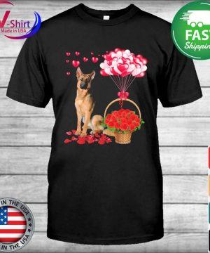 German Shepherd Rose balloon heart shirt