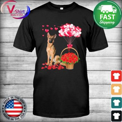 German Shepherd Rose balloon heart shirt