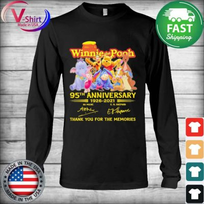 Hunny Winnie the Pooh 95th anniversary 1926 2021 thank you for the memories tee signatures s Long Sleeve