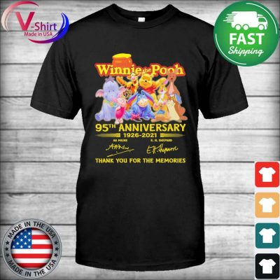 Hunny Winnie the Pooh 95th anniversary 1926 2021 thank you for the memories tee signatures shirt