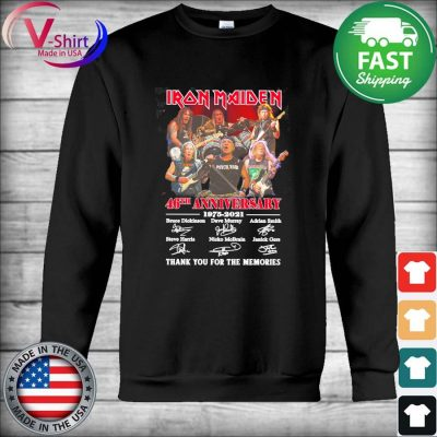 Iron Maiden 46th anniversary 1975 2021 thank you for the memories signatures s Hoodie
