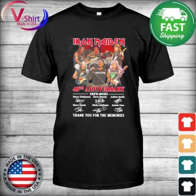 Iron Maiden 46th anniversary 1975 2021 thank you for the memories signatures shirt