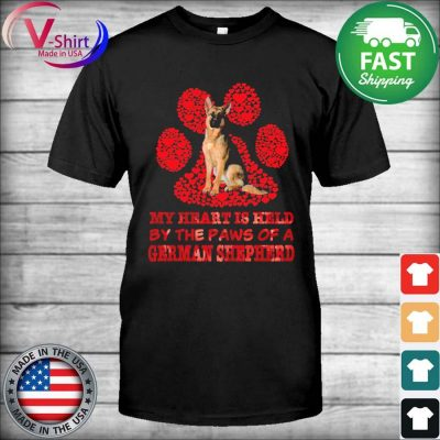 My heart is held by the Paws of a German Shepherd red shirt