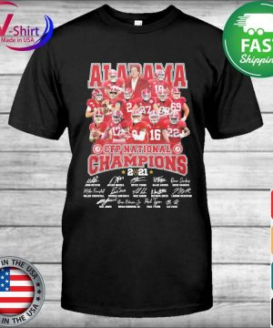 Official Alabama Crimson Tide CFP National Champions 2021 signatures tee shirt