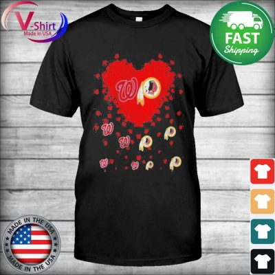 Official Heart Red Washington And Redskins Team Football tee Shirt