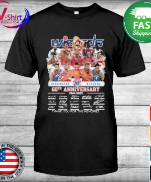 Washington Wizards 60th anniversary 1961 2021 thank you for the memories signatures shirt