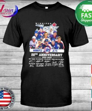 Winnipeg Jets 22th anniversary 1999 2021 signatures thanks shirt