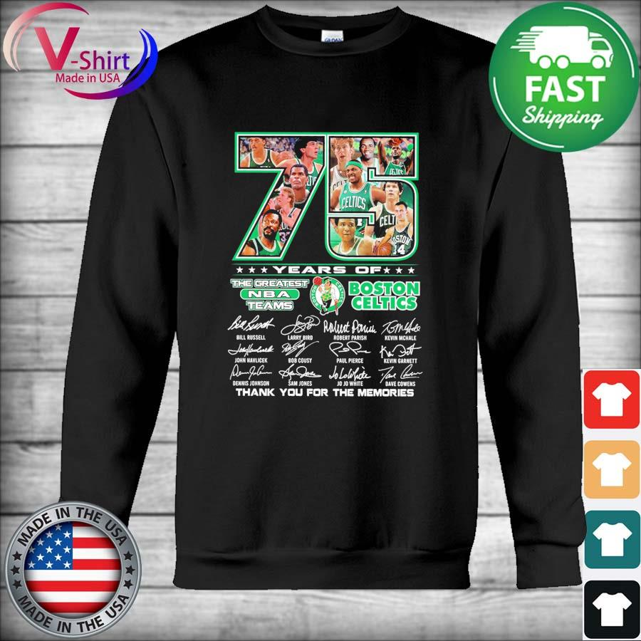 Official 75 years the Greatest Nba teams Boston Celtics thank you for the memories 2021 signatures tee s Hoodie