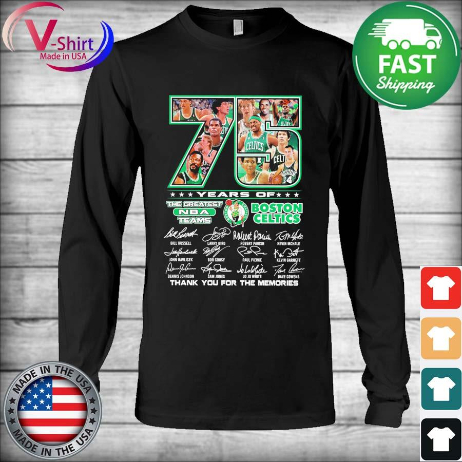 Official 75 years the Greatest Nba teams Boston Celtics thank you for the memories 2021 signatures tee s Long Sleeve