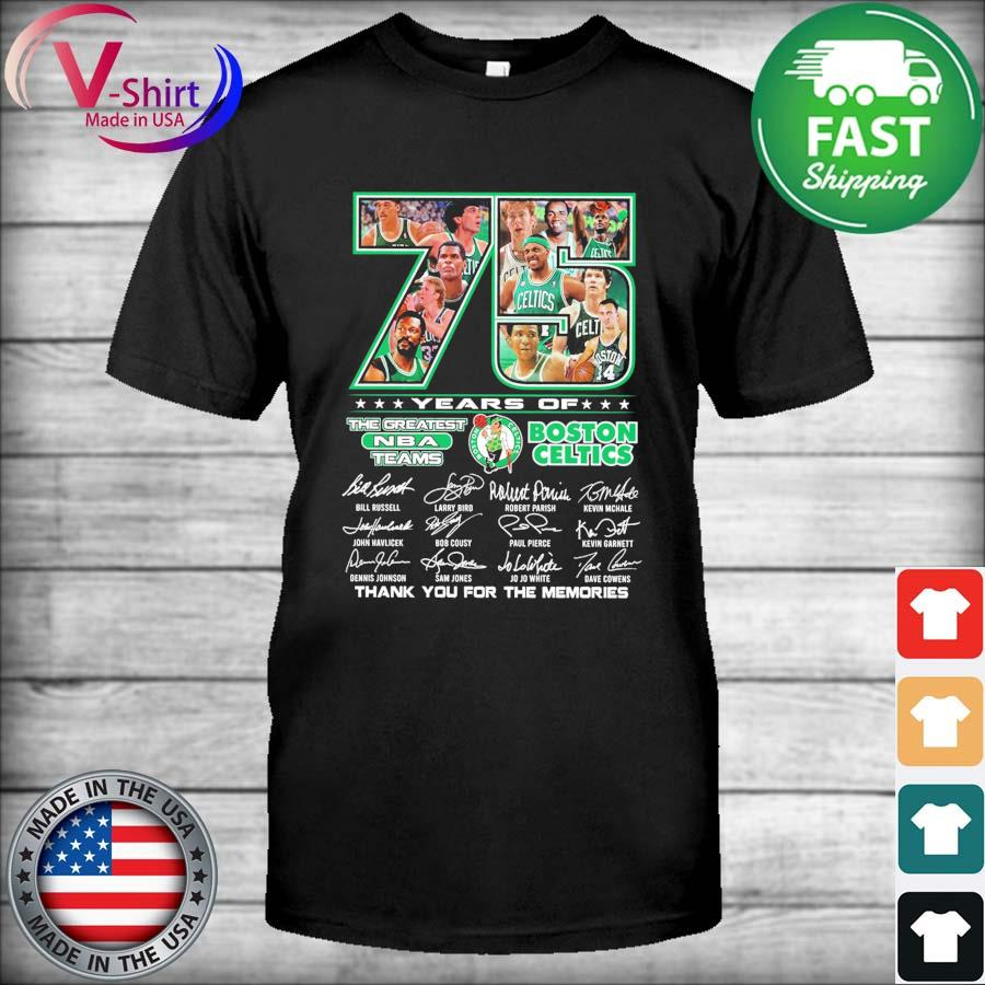 Official 75 years the Greatest Nba teams Boston Celtics thank you for the memories 2021 signatures tee shirt