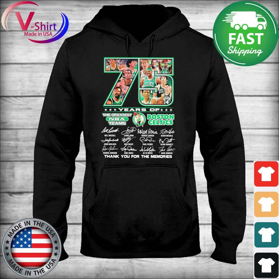 Official 75 years the Greatest Nba teams Boston Celtics thank you for the memories 2021 signatures tee s sweater