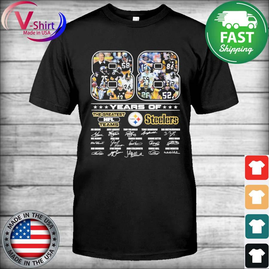 Official 88 years of The Greatest Nfl Teams Pittsburgh Steelers signatures thanks shirt