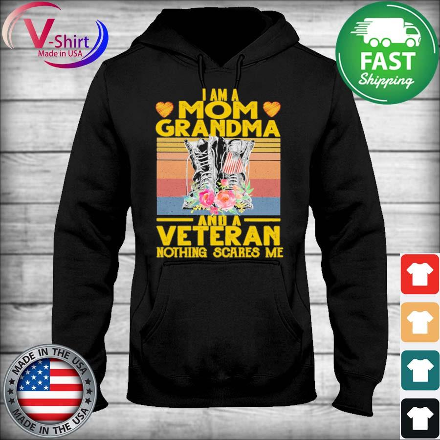 Official I am a Mom Grandma and a Veteran nothing scares me vintage s sweater